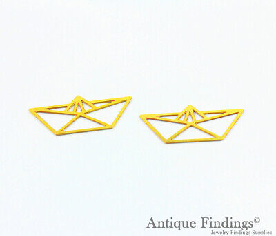 Exclusive 2Pcs Raw Brass Geometric Pendant For Necklace Earring Brooch TG417