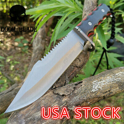 11.8IN Hunting Survival Knife 5Cr15 Wood Handle Tactical Army Fixed Blade Knives
