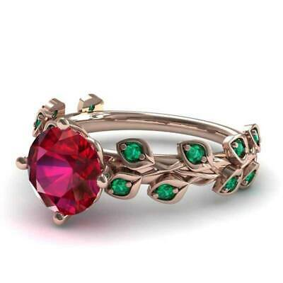 New Gorgeous Rose Gold Filled Round Cut Ruby Women Cocktail Rings Size 6-10