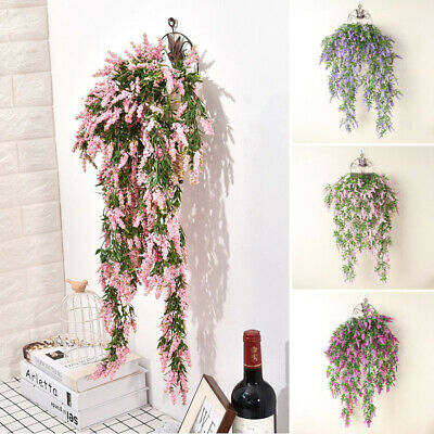 31.5'' Artificial Lavender Vine Flowers Garland Ivy Plants Wall Hanging UK Stock