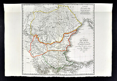 1818 D'Anville Map Ancient Dacia Moesia Thrace Macedonia Trajan's Conquest Roman