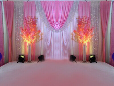 Wedding Party Stage Dream Powder Decor Background Swag Fabric Curtain Backdrop