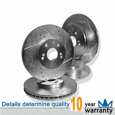 FRONT REAR SET Performance Cross Drilled Slotted Brake Disc Rotors TBS12824