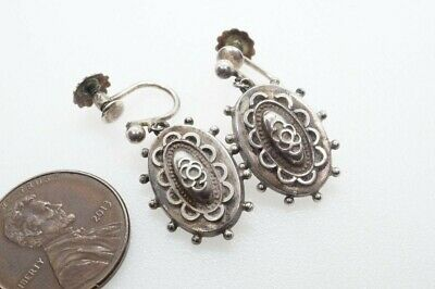 ANTIQUE LATE VICTORIAN ENGLISH STERLING SILVER EARRINGS c1886