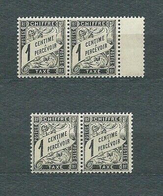 TAXE - 1881 YT 10 paires  - TYPE DUVAL 1 c. noir - TIMBRES NEUFS** MNH LUXE
