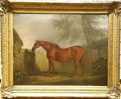 Fine Large 19th Century Chestnut Hunter Horse Landscape Antique Oil Painting