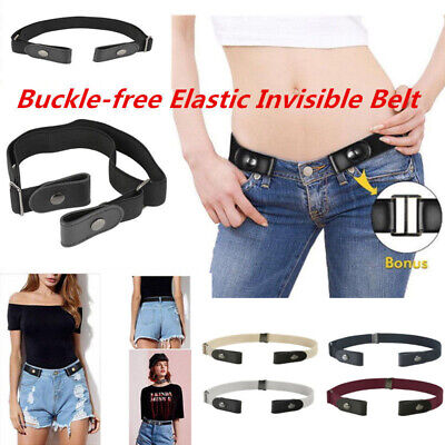 Unisex Buckle-Free Elastic Belt Invisible Belt for Jeans No Bulge Hassle Band