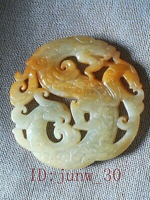 Chinese natural jade hand-carved dragon bird pendant ornaments