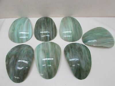 Antique Arts Crafts 7 Green Slag Glass Lamp Shade Panels Bent Teardrop Stunning