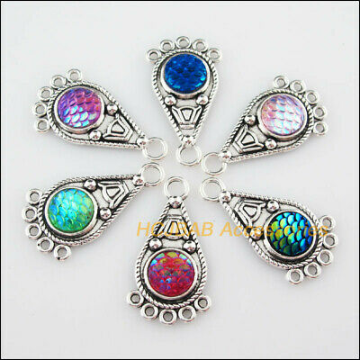 6 Teardrop Scales Resin Connectors Mixed Charms Tibetan Silver Pendant 19x35mm