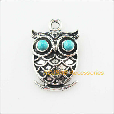 8 New Animal Owl Charms Turquoise Tibetan Silver Pendants Retro 16x24mm