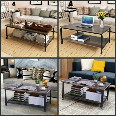 2-Tier Vintage Coffee Table Storage Shelf Wood Bedroom End Table w/Metal Frame