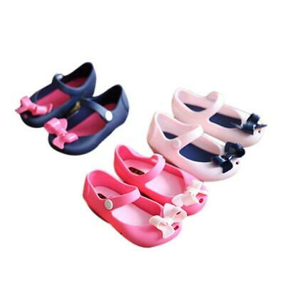 Cute Girls Baby Kids Detailed Jelly Bowknot fish mouth sandals boots Shoes 1-7Y