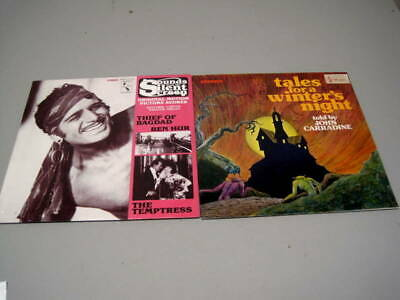2 NOS Sealed Pelican LPs Sounds Silent Screen & Carradine Tales Winter's Night