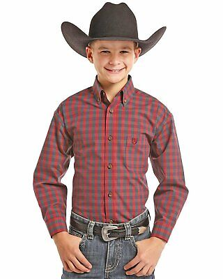 C0D5649 Panhandle Boys Solid Button Down Western Shirt Long Sleeve NEW
