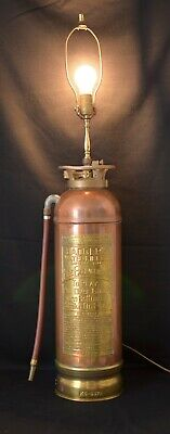 Antique Badger's Copper and Brass Fire Extinguisher Lamp