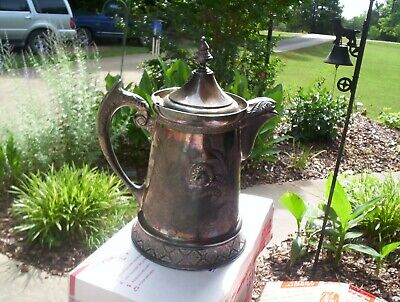 Rare Antique Wilcox Quadruple Plate Silver Tilting Cold Water Pitcher