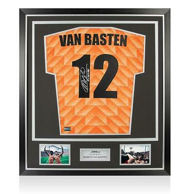 Marco Van Basten Back Signed Retro Holland Home Shirt In Classic Frame