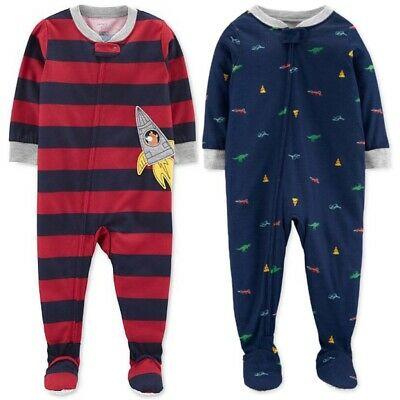 6973e157d Lot Of 2 Carters Baby Boy 2-Pack Footed Pajamas Footies Sleeper 2 Pairs 12