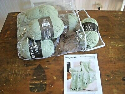 "Mary Maxim Frosted Flowers Blanket Knitting Kit 51"" x 62"" NIP COMPLETE"