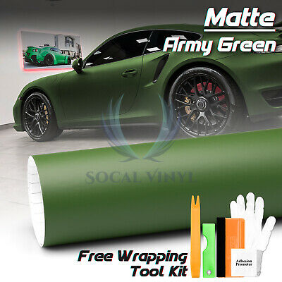 *Premium Matte Army Green Vinyl Wrap Sticker Decal Film Bubble Free Air Release