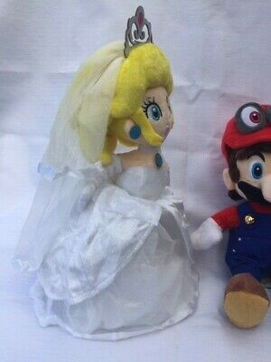 Super Mario Bros Odyssey Wedding Dress Princess Peach Plush Dolls 33CM
