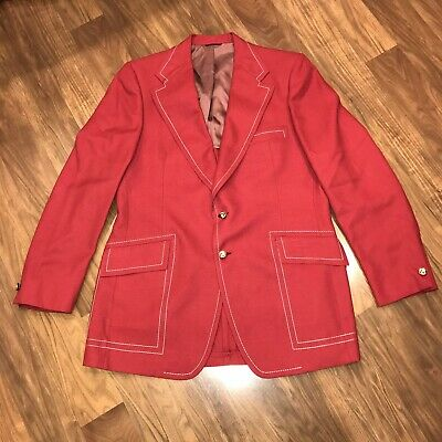 NWT Vtg 60s 70s Red LEISURE SUIT Jacket MENS 43 Long Disco Coat Blazer NEW NOS