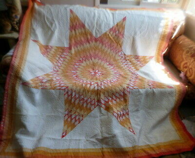 BEAUTIFUL Vintage Lone Star Hand Sewn Quilt With Decorative Stitching For Repair