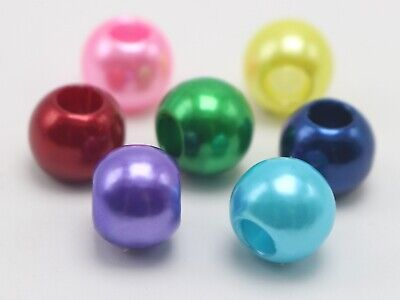 """100 Acrylic Pearl Round Beads 12mm (1/2"""") Pony Beads With 5mm Hole Colour Choice"""