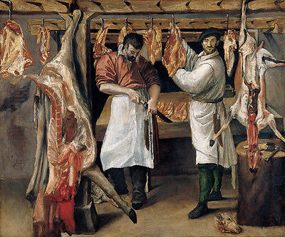 """perfact 36x24 oil painting handpainted on canvas""""The Butcher's Shop""""@N3258"""