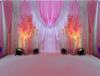 Wedding Stage Dream Powder Background Swag Fabric Curtain Party Decor Backdrop