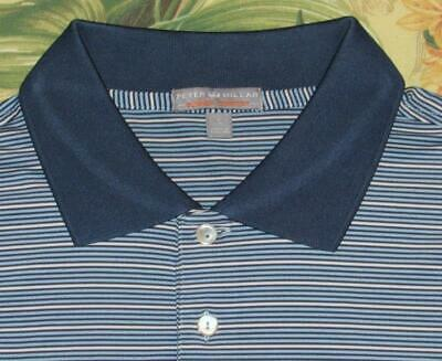 38a989db Mens PETER MILLAR Blue White Striped Summer Comfort Golf Polo Shirt Large L