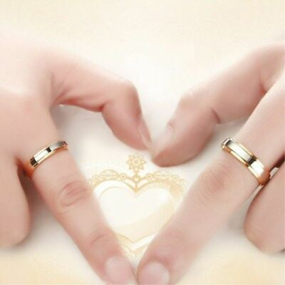 316L Stainless Steel Simple Couple Rings Band Gold Plating Engagement Jewelry