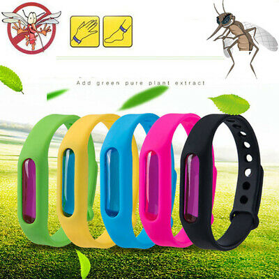 5pcs Anti Mosquito Insect & Bug Repellent Bracelet Bands Silicone Wristband HU