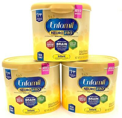 Enfamil NeuroPro Infant Baby Formula, 20.7 Oz Reusable Tub Lot of 3, Exp. 1/2020