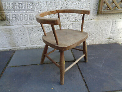 Charming Antique Vintage Retro Mid Century Childs Elm Stick Back Chair