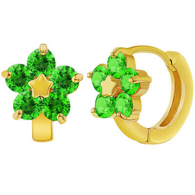 18k Gold Plated Green Crystal Flower Huggie Hoop Earrings Girls Teens 0.47""