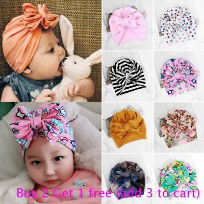 Toddler Kids Baby Infant Bowknot Soft Cotton Beanie Turban Hat Cap Head Wrap New