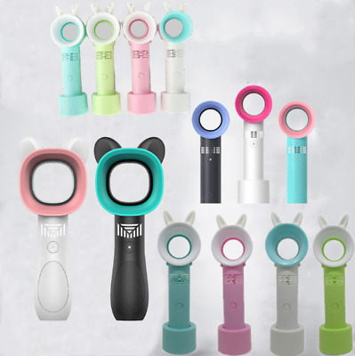 Portable Mini Personal Handheld Bladeless Fan USB Rechargeable Conditioner E0V2