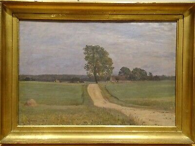 Early 20th Century English Impressionist Country Path Landscape Antique Painting