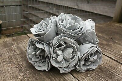 6 x STORM GREY (MID GREY) COLOURFAST FOAM PEONY ROSES 9cm  WEDDING BRIDAL