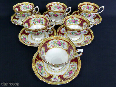 6 LADY HAMILTON AVON TEA CUPS & SAUCERS, 1960s-70s, MADE IN ENGLAND ROYAL ALBERT