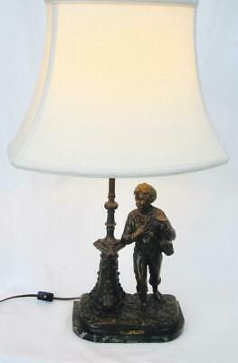 Vintage Spelter Bronze Finish Lamp Boy Sortie De L'Ecole Par Rousseau Updated
