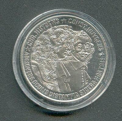 25 ECU Netherlands Brothers Huygens Ribbed Edge 1989 Silver Pp