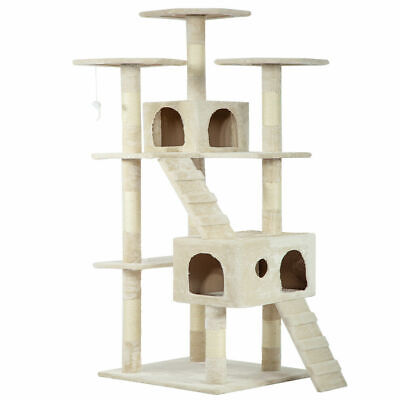 "73"" Cat Tree Scratcher Play House Condo Furniture Bed Post Pet House Beige"