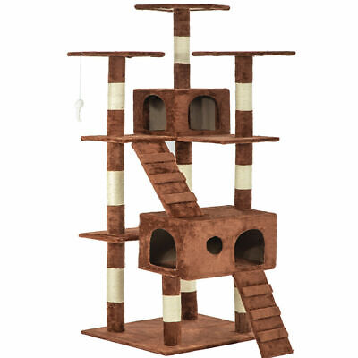 "73"" Cat Tree Scratcher Play House Condo Furniture Bed Post Pet House Brown"