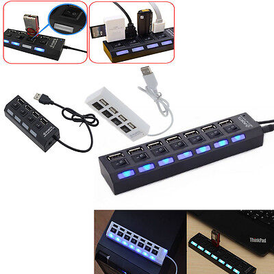 3/4/7-Port USB 2.0 Hub w/High Speed Adapter ON/OFF Switch for Laptop PC NEW HD