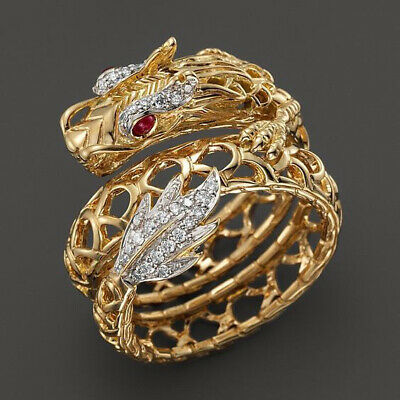 Fashion 18k Gold Filled Ruby Topaz Chinese Style Dragon Hollow Band Ring Men Hot