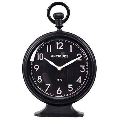 NIKKY HOME Antique Small with Loop Analog Table Clock, Black