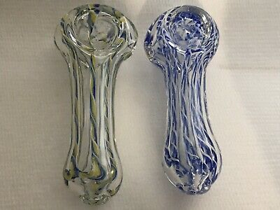 "2.5"" Small Assorted Striped Designs Glass Tobacco Smoking Pipe Herb Bowl"